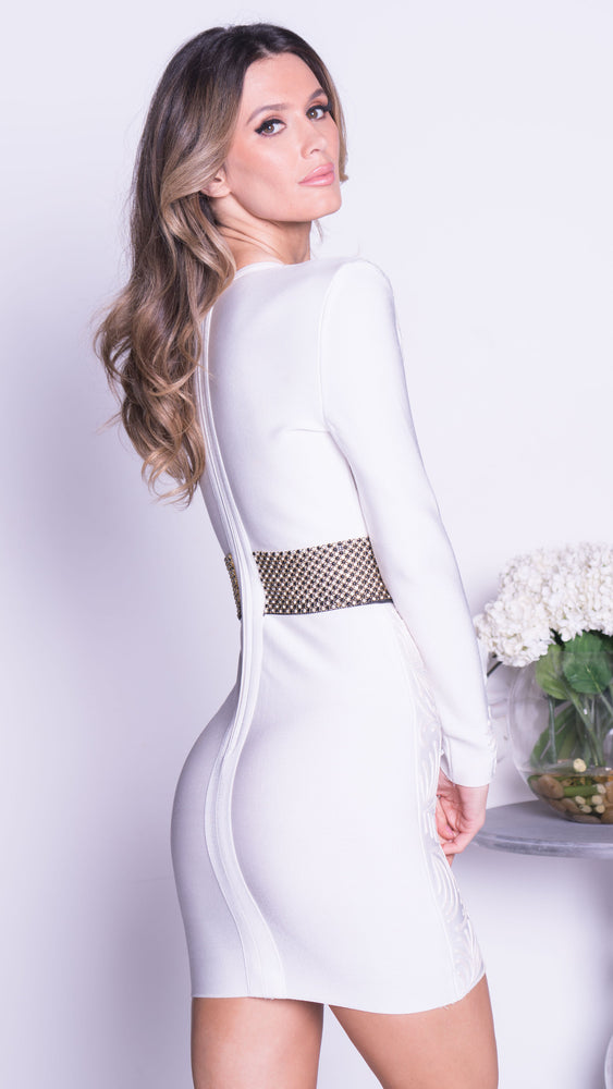 KHLOE PAINTED BANDAGE DRESS IN WHITE