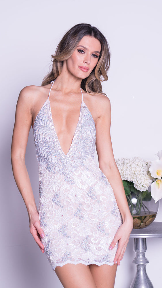 MANUELLA LACE DRESS IN WHITE WITH SILVER