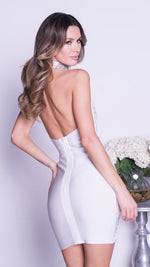 KYRA PAINTED BANDAGE DRESS IN WHITE WITH WHITE