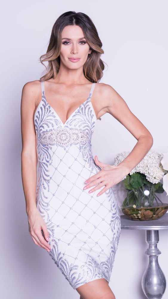 SHANDA PAINTED BANDAGE DRESS IN WHITE WITH SILVER
