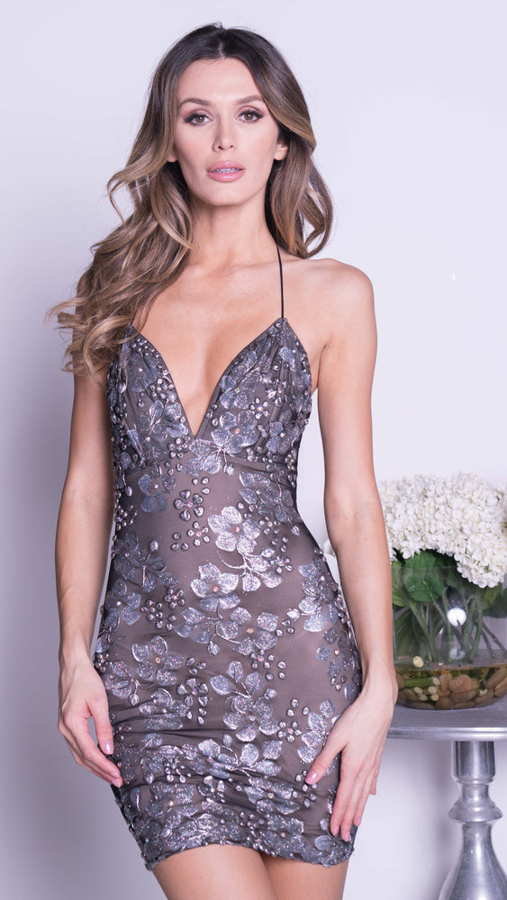 DOA BUSTIER DRESS IN BLACK WITH SILVER