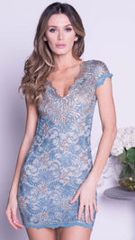 EMANI LACE DRESS IN JEANS WITH GOLD