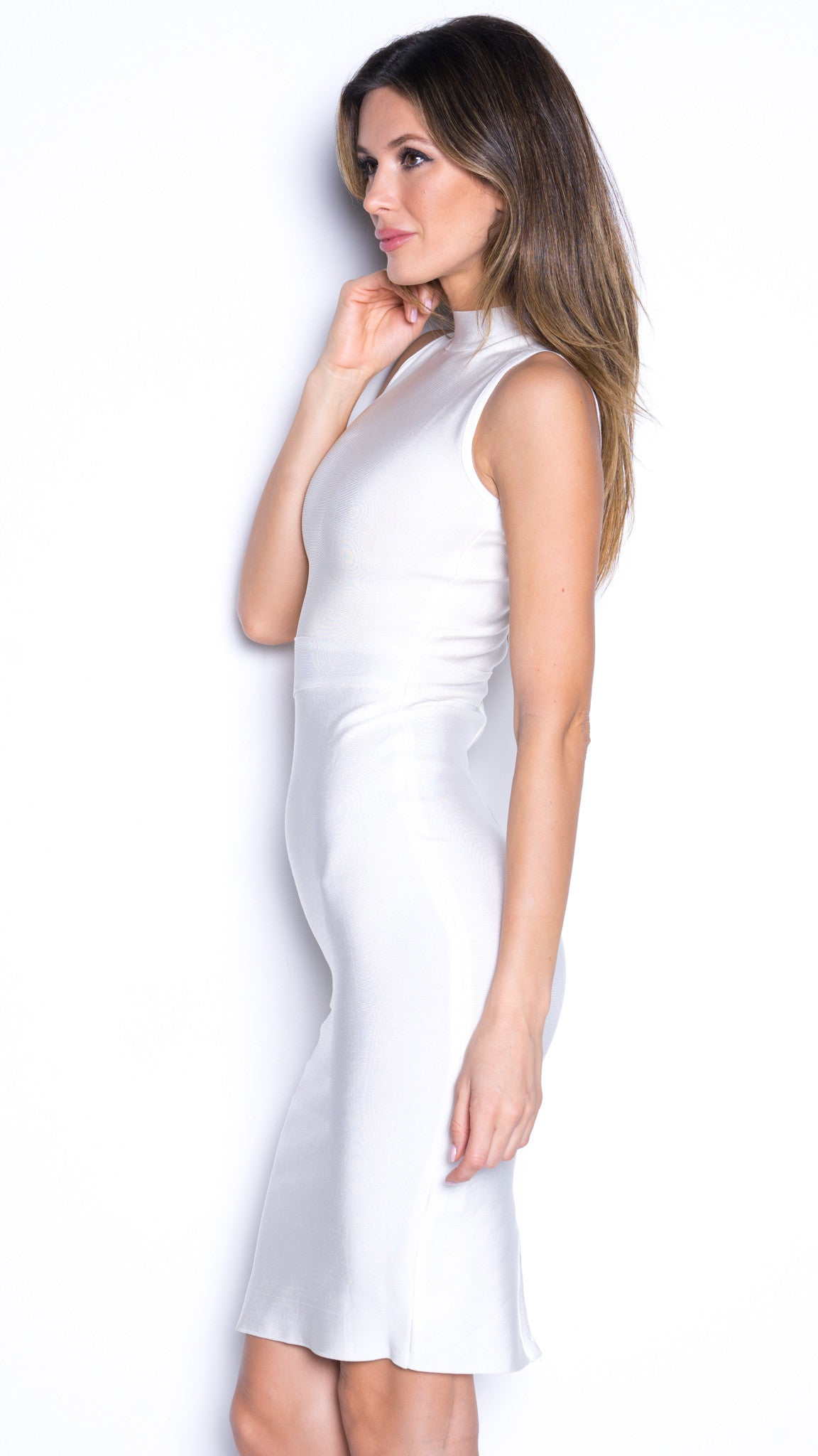 LARISSA BANDAGE WHITE HIGH NECK DRESS
