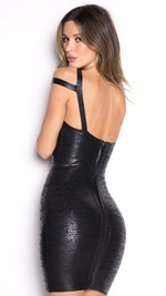 BANDAGE FOIL DRESS IN BLACK