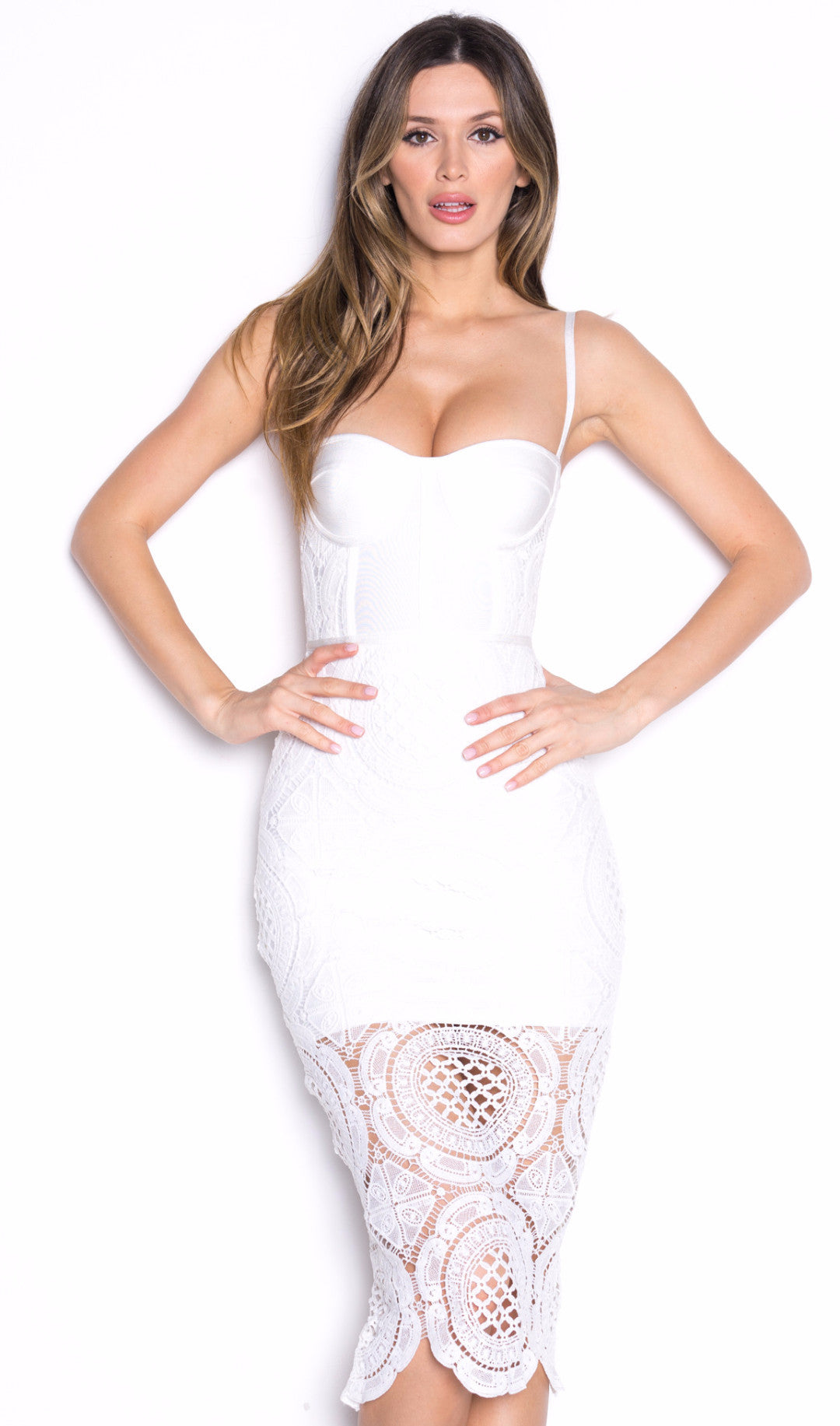 CIRCLE BANDAGE DRESS IN WHITE