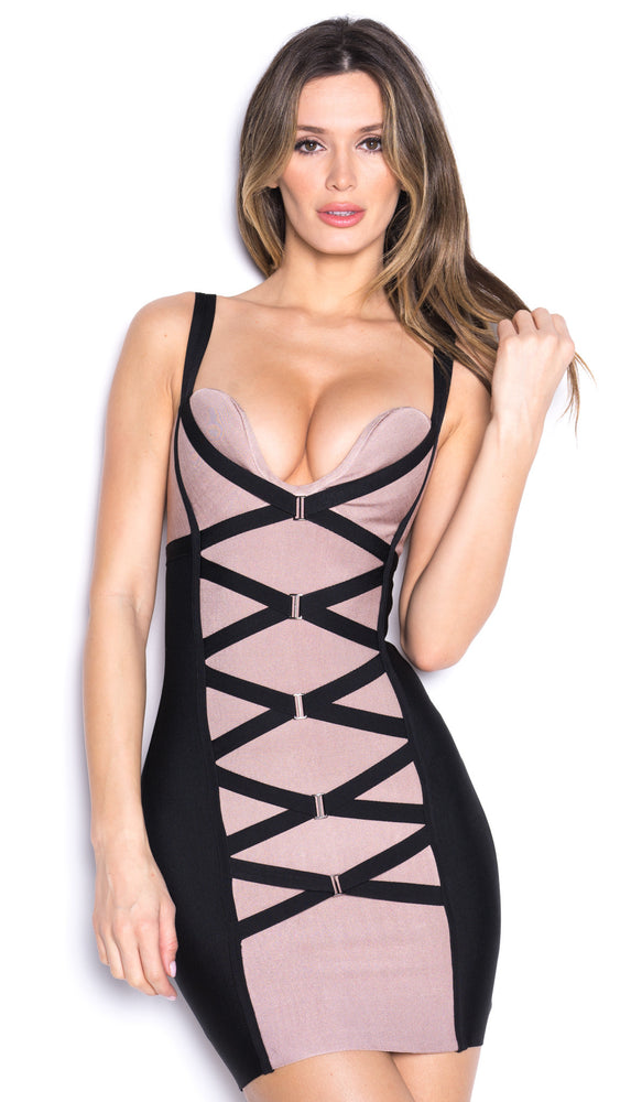KIM BANDAGE DRESS IN NUDE AND BLACK