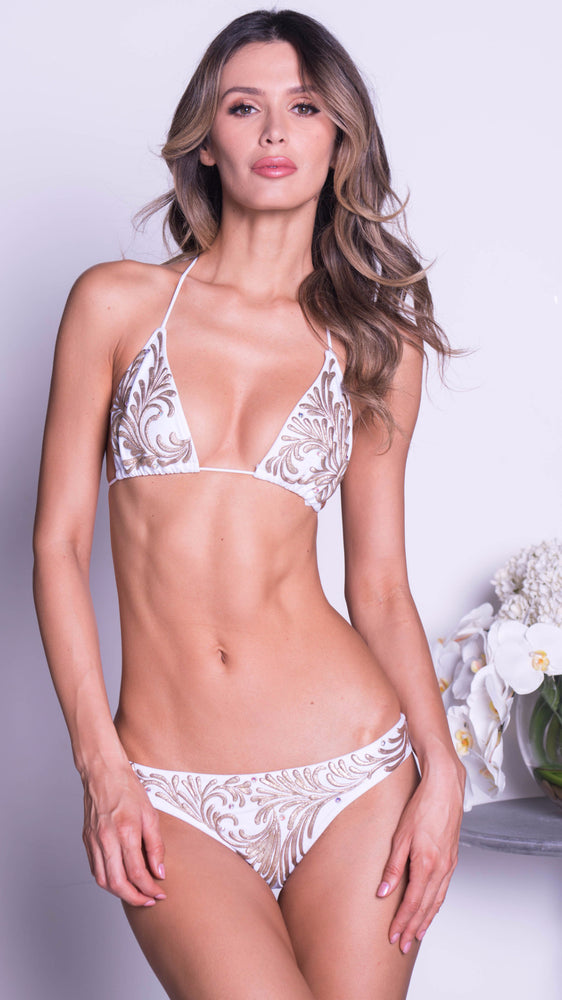 NELSON STRING BIKINI IN WHITE WITH GOLD