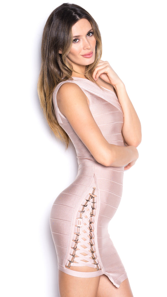 MADELYN BANDAGE DRESS IN BEIGE