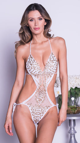 SAMBA MONOKINI IN NUDE WITH CRYSTALS