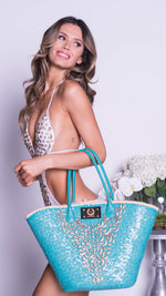 DOLCE BEACH BAG IN TURQUOISE SEQUIN