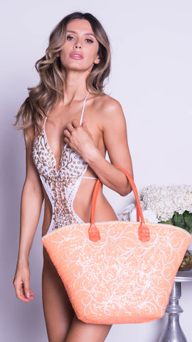 STACY BEACH BAG IN ORANGE SEQUIN