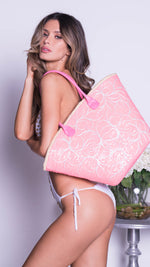 STACY BEACH BAG IN PINK SEQUIN