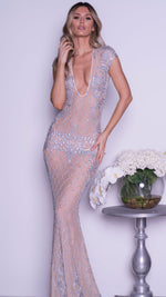 ZAYN GOWN IN NUDE WITH SILVER