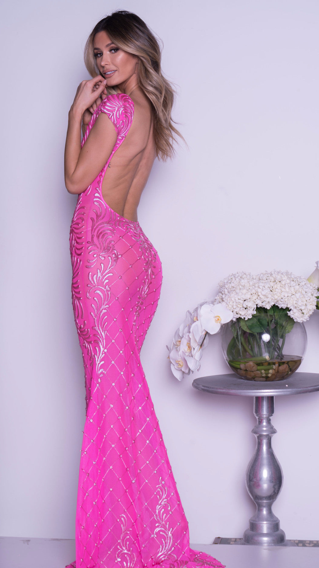 ZAYN CLOSED FRONT GOWN IN HOT PINK – HOLT