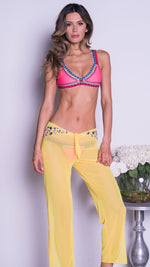 DELLAL MESH PANTS IN YELLOW WITH CRYSTALS