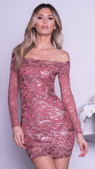 BRINKLEY LACE DRESS IN ROSE GOLD