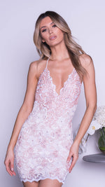 WINA LACE DRESS IN WHITE WITH BLUSH