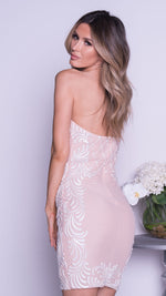 YAVA BUSTIER DRESS IN NUDE WITH WHITE