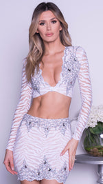 MELIA TWO PIECE SET IN WHITE WITH SILVER