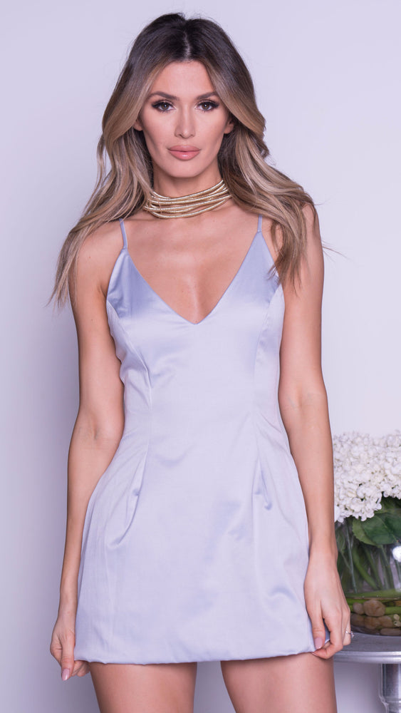SELENA SILK MINI DRESS IN GREY SATIN