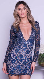 ZAHARA LACE DRESS IN NAVY