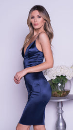 RENATA SATIN DRESS IN NAVY