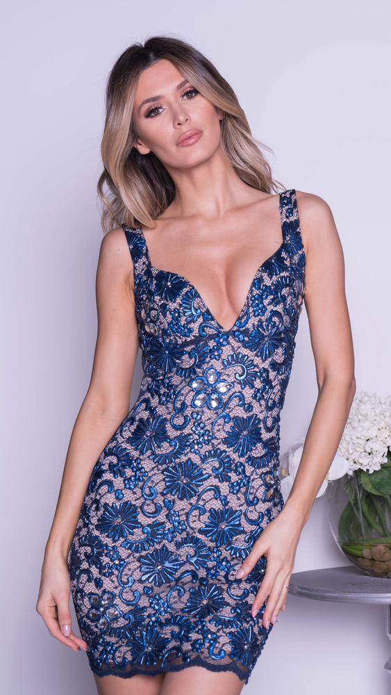 BREA LACE DRESS IN NAVY WITH CRYSTALS