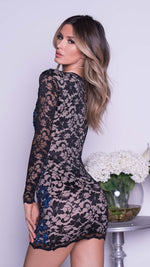 ARCADIA LACE DRESS IN BLACK WITH NAVY