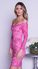 BRINKLEY LACE DRESS IN HOT PINK