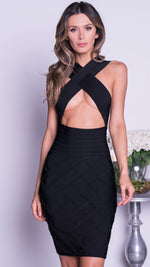 ADRIANA BANDAGE DRESS IN BLACK