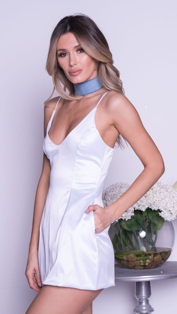 SELENA SATIN MINI DRESS IN WHITE
