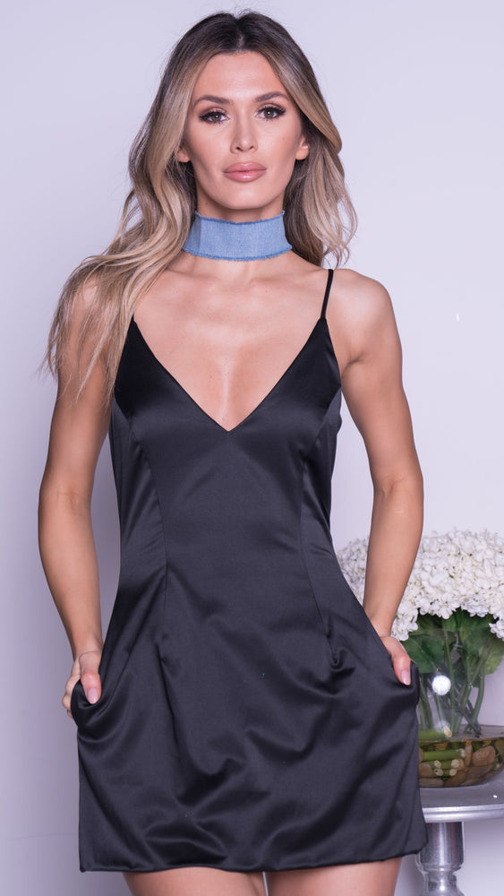 SELENA SATIN MINI DRESS IN BLACK