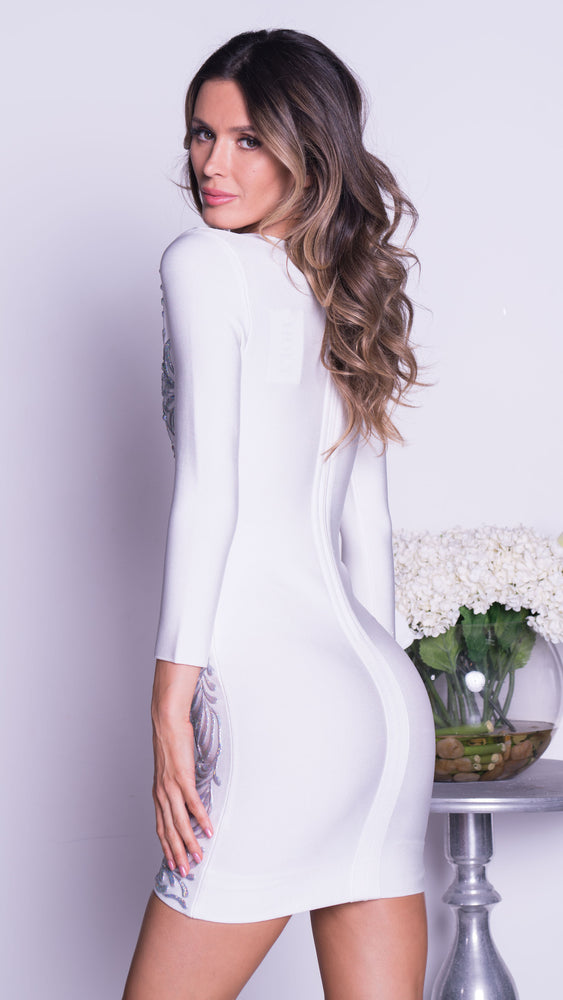 BINDY PAINTED BANDAGE DRESS IN WHITE WITH SILVER