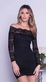 LAVIGNE LACE DRESS IN BLACK