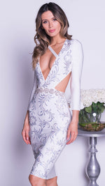 KLEIN PAINTED BANDAGE DRESS IN WHITE WITH SILVER