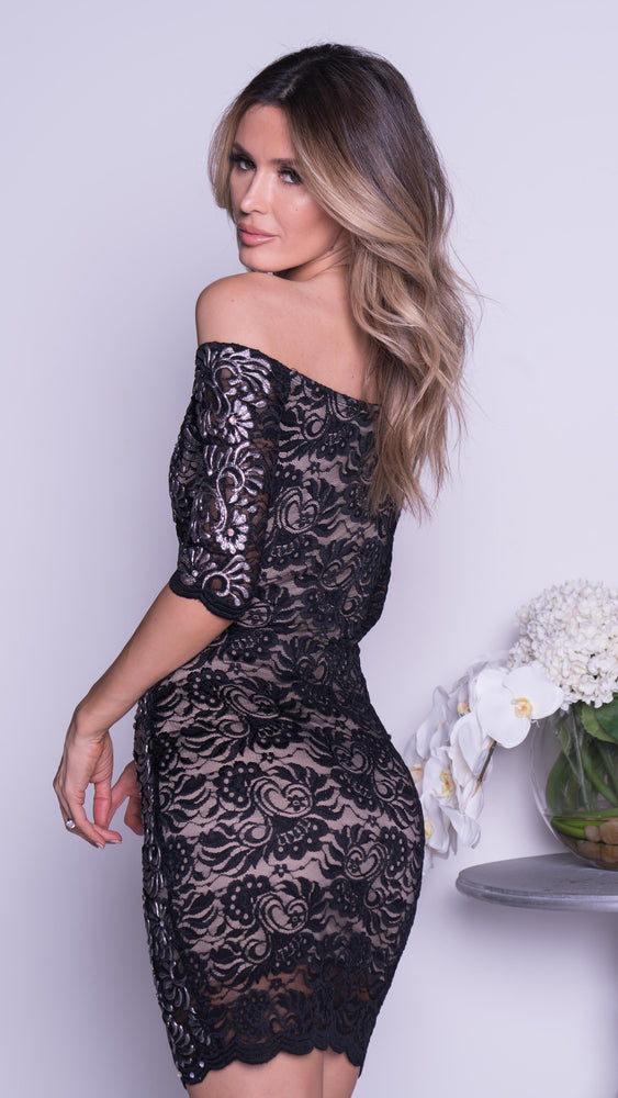 JONAS LACE DRESS IN BLACK WITH CHROME