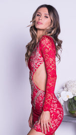 JEDA LACE DRESS IN RED WITH GOLD
