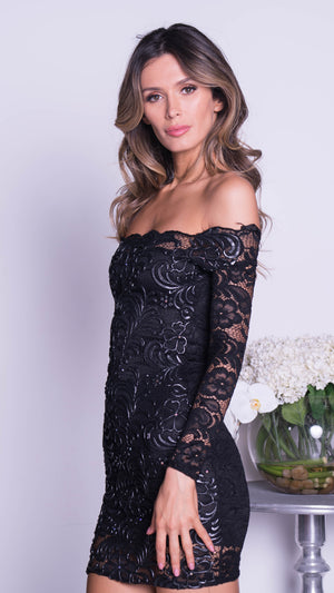 BRINKLEY LACE DRESSIN BLACK