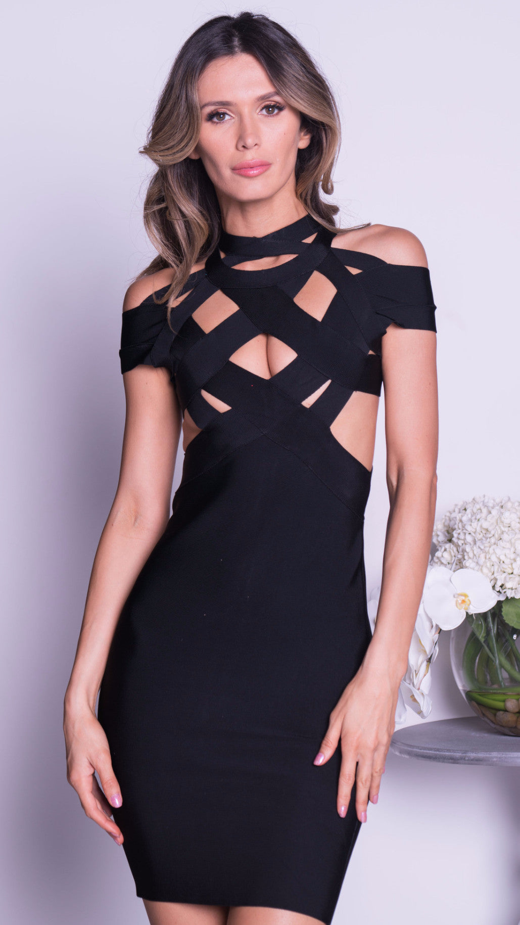 ANIA BANDAGE DRESS IN BLACK