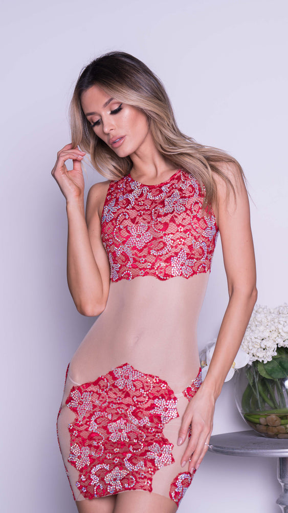 MANA LACE IN RED WITH CRYSTALS