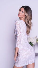 THALIS LACE DRESS IN WHITE WITH GOLD