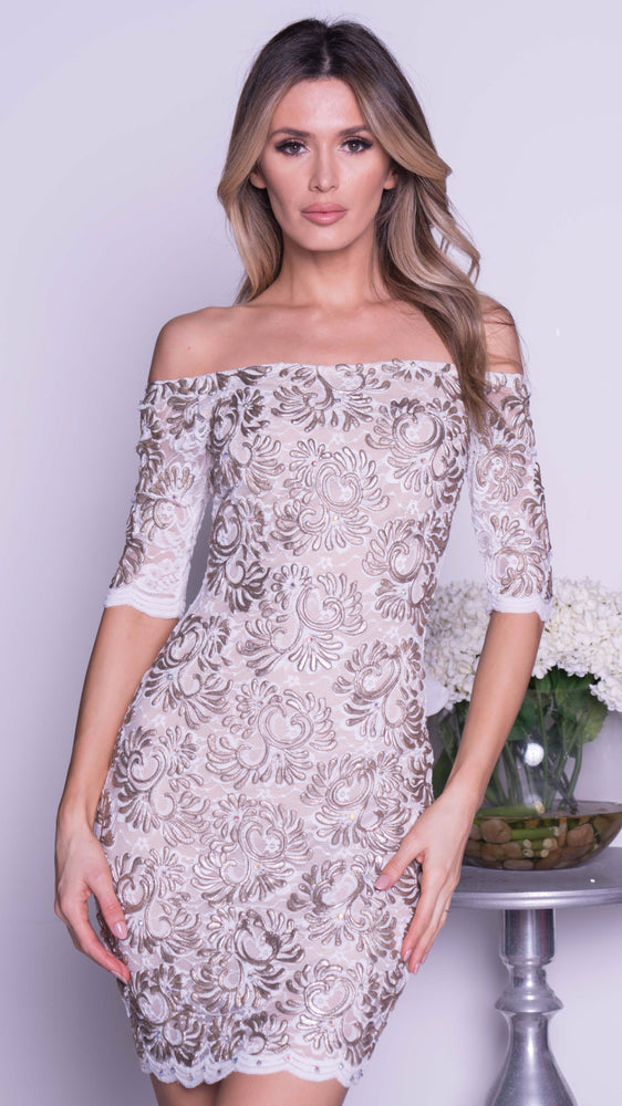JONAS LACE DRESS IN WHITE WITH GOLD