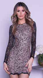 HENDRIX LACE DRESS IN BLACK WITH GOLD