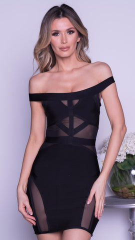 DENIRO PAINTED BANDAGE DRESS IN BLACK