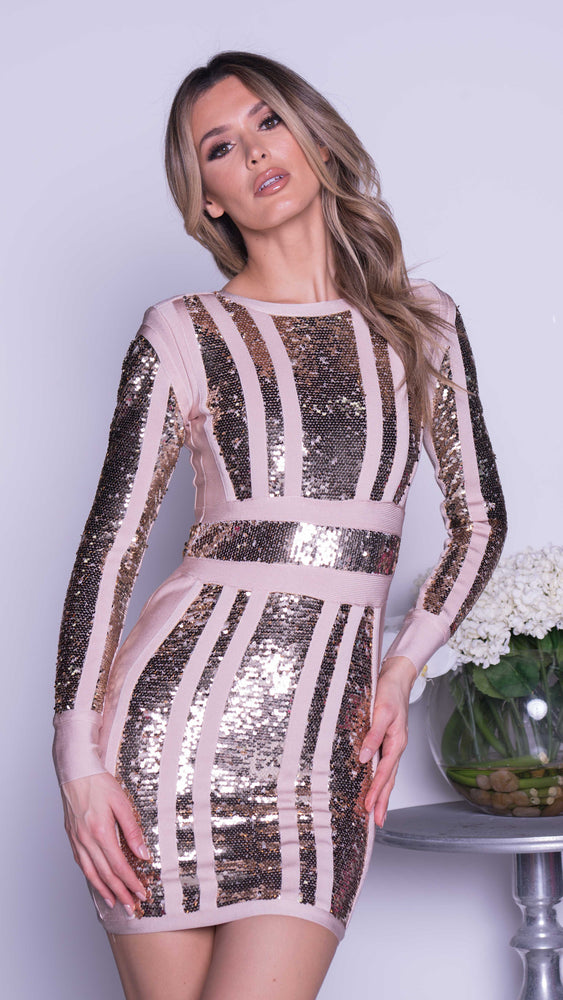 DEMOORE SEQUIN BANDAGE DRESS IN GOLD