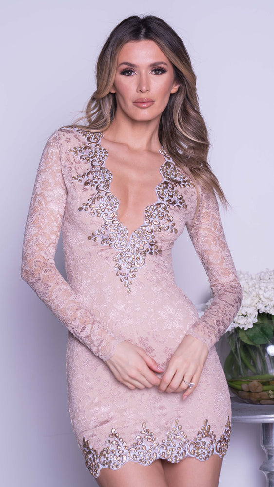 CUSTO LACE DRESS IN BEIGE WITH GOLD