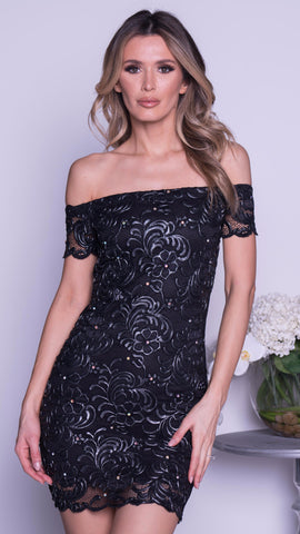 SOFRA LACE DRESS IN BLACK WITH GOLD