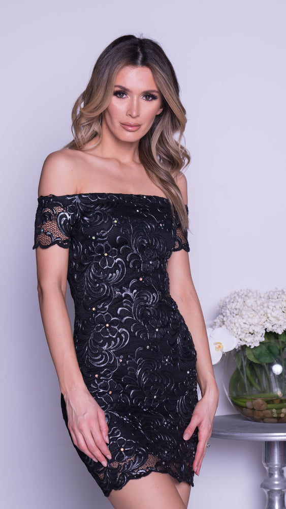 BRITNEY LACE DRESS IN BLACK