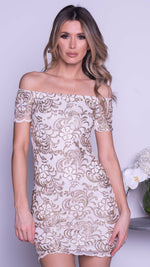 BRITNEY LACE DRESS IN WHITE WITH GOLD