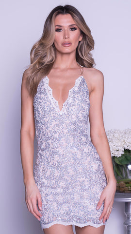 LIDY LACE DRESS IN NUDE WITH SILVER